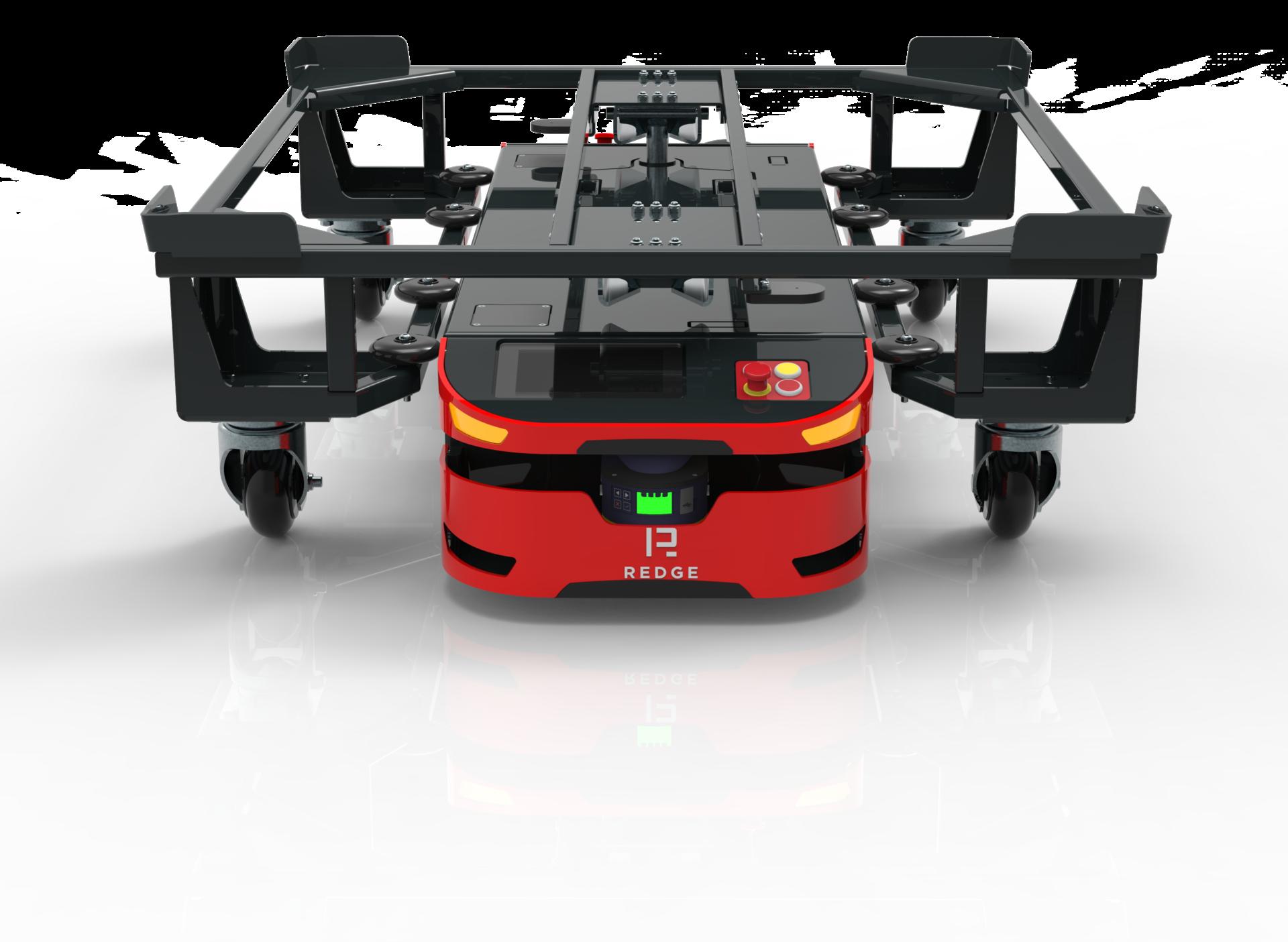 Robot logistyczny AGV Redge z przypiętym wózkiem